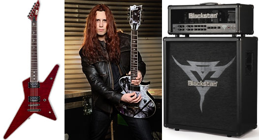 Gus G. with his ESP Sginature Guitars and Black Star Amp
